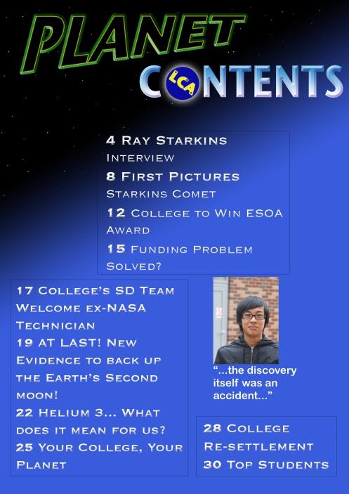 Planet Magazine Contents Page
